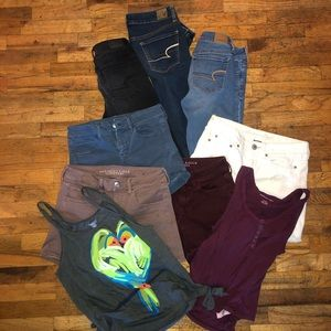 American Eagle 9 Piece Lot Jeans Shorts Tops